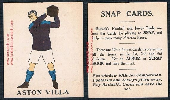 1923 Aston Villa type III J.C. Battock football trade card